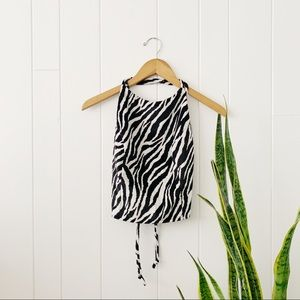 Vintage 90s Fuzzy Zebra Crossed Back Halter Top